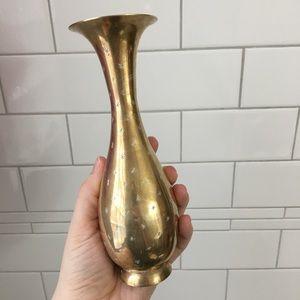 Vintage Etched Brass Vase